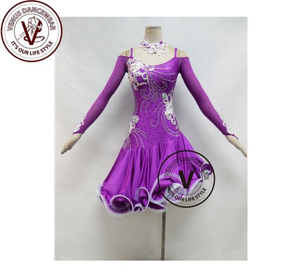 ■ヴィーナスダンスウェア(VENUS DANCEWEAR)紫競技用ラテンダンスドレス・■(社交ダンス 衣装 ウェア ドレス トップス スカート シューズ ダンス トップス 服 パンツ ドレス)