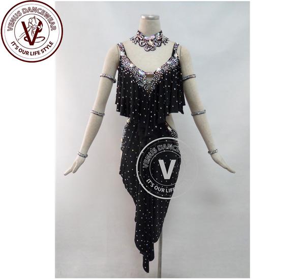 ■ヴィーナスダンスウェア(VENUS DANCEWEAR)黒色 競技用ラテン リズムダンスドレス・■(社交ダンス 衣装 ウェア ドレス トップス スカート シューズ ダンス トップス 服 パンツ ドレス)