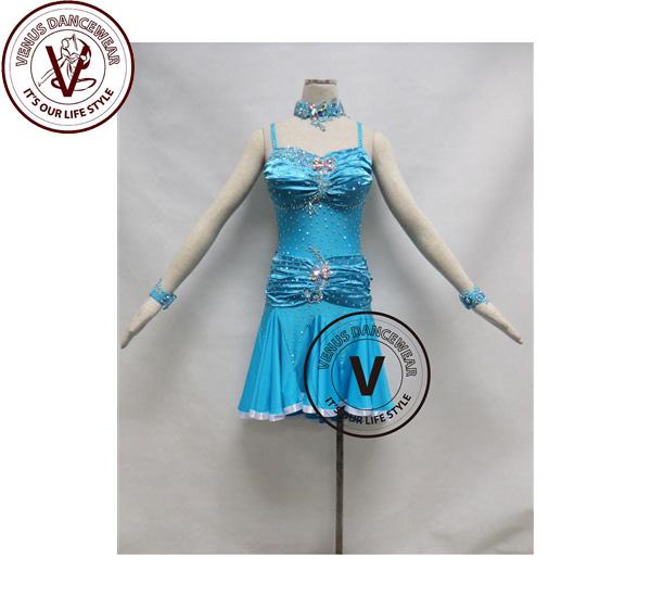 ■ヴィーナスダンスウェア(VENUS DANCEWEAR)スカイブルー コンクール ラテンリズムダンスドレス・■(社交ダンス 衣装 ウェア ドレス トップス スカート シューズ ダンス トップス 服 パンツ ドレス)