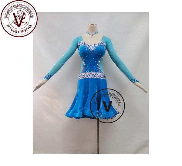 ■ヴィーナスダンスウェア(VENUS DANCEWEAR)ブルーベルベット競技用ラテンリズムダンスドレス・■(社交ダンス 衣装 ウェア ドレス トップス スカート シューズ ダンス トップス 服 パンツ ドレス)