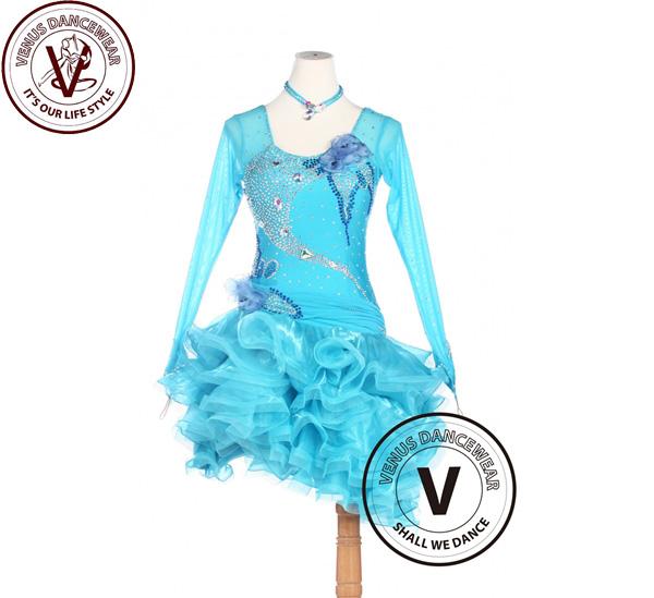 ■ヴィーナスダンスウェア(VENUS DANCEWEAR)ブルーラテン コンクール アメリカンリズム サルサ ルンバダンスドレス・■(社交ダンス 衣装 ウェア ドレス トップス スカート シューズ ダンス トップス 服 パンツ ドレス)