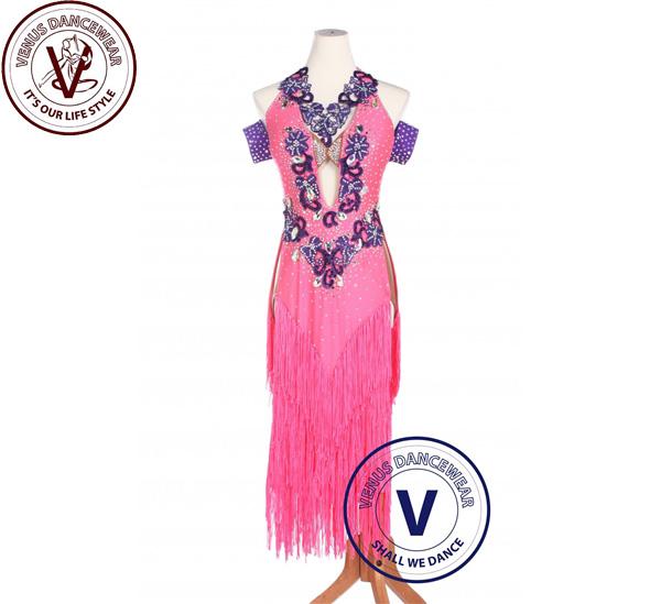 ■ヴィーナスダンスウェア(VENUS DANCEWEAR)ピンク女性 ボールルーム サルサ ラテンルンバスイングダンスドレス・■(社交ダンス 衣装 ウェア ドレス トップス スカート シューズ ダンス トップス 服 パンツ ドレス)