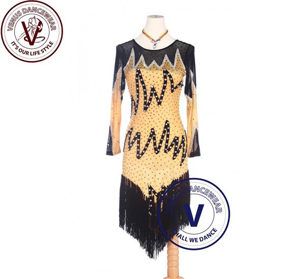 ■ヴィーナスダンスウェア(VENUS DANCEWEAR)黄色 ラテンリズムルンバスイング コンクール ダンスドレス・■(社交ダンス 衣装 ウェア ドレス トップス スカート シューズ ダンス トップス 服 パンツ ドレス)