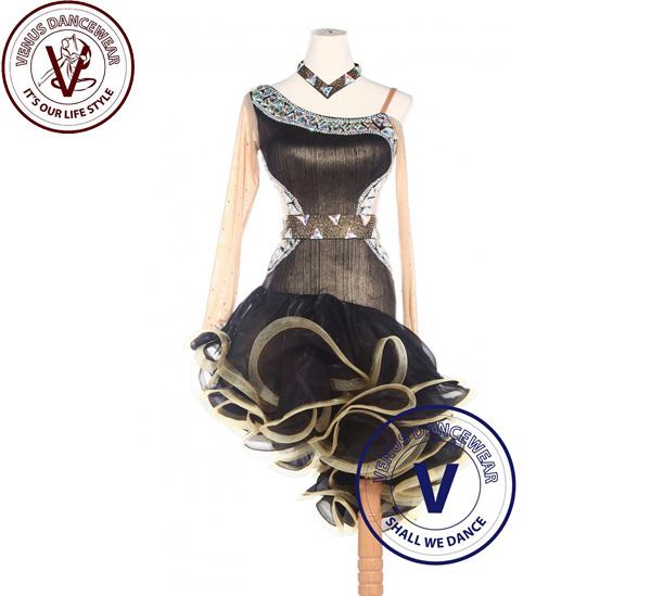 ■ヴィーナスダンスウェア(VENUS DANCEWEAR)ゴールデンラテンリズム サルサ ボールルーム コンクール ダンスドレス・■(社交ダンス 衣装 ウェア ドレス トップス スカート シューズ ダンス トップス 服 パンツ ドレス)