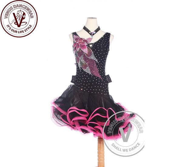 ■ヴィーナスダンスウェア(VENUS DANCEWEAR)赤と黒 アメリカ リズム サルサ ルンバ競技用ダンスドレス・■(社交ダンス 衣装 ウェア ドレス トップス スカート シューズ ダンス トップス 服 パンツ ドレス)