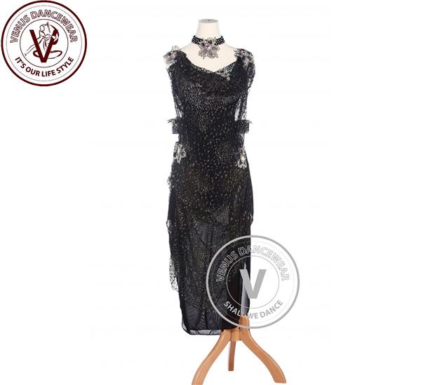 ■ヴィーナスダンスウェア(VENUS DANCEWEAR)ブラックアメリカンリズム サルサ ルンバ競技用ダンスドレス・■(社交ダンス 衣装 ウェア ドレス トップス スカート シューズ ダンス トップス 服 パンツ ドレス)