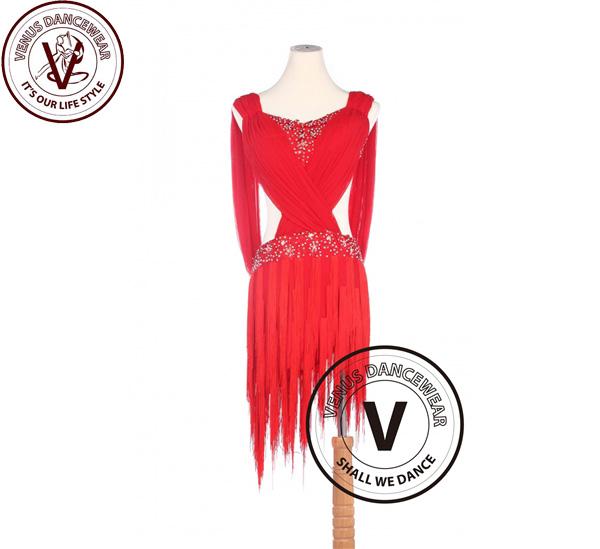 ■ヴィーナスダンスウェア(VENUS DANCEWEAR)レッドラテンリズム サルサ ルンバラテン コンクール ダンスドレス・■(社交ダンス 衣装 ウェア ドレス トップス スカート シューズ ダンス トップス 服 パンツ ドレス)