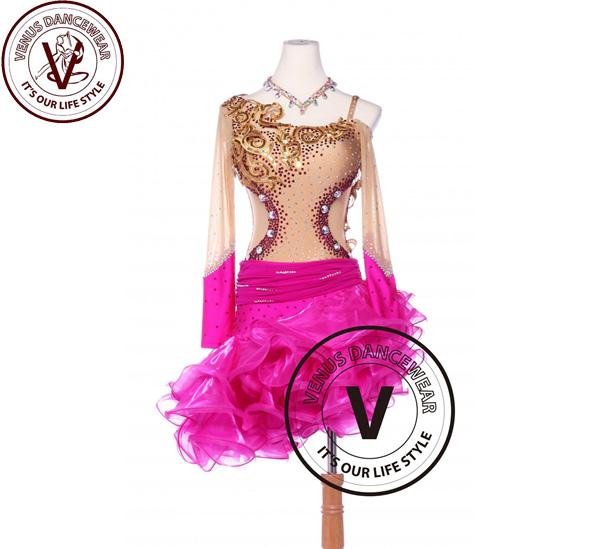 ■ヴィーナスダンスウェア(VENUS DANCEWEAR)ゴールドとローズスパンコールラテンリズム チャチャチャ サルサ コンペティションダンスドレス・■(社交ダンス 衣装 ウェア ドレス トップス スカート シューズ ダンス トップス 服 パンツ ドレス)