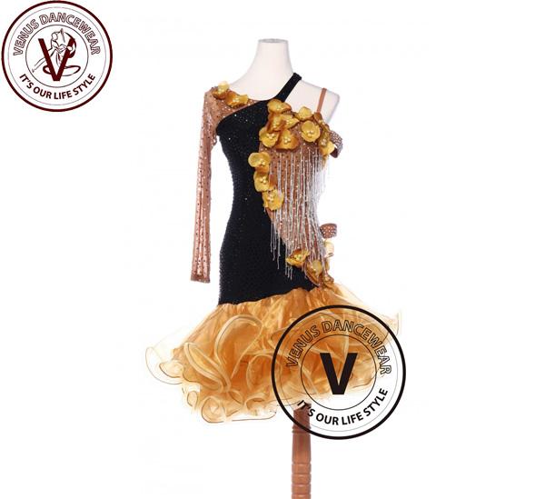 ■ヴィーナスダンスウェア(VENUS DANCEWEAR)カラメルカラーラテンリズム チャチャチャ サルサ コンクール ダンスドレス・■(社交ダンス 衣装 ウェア ドレス トップス スカート シューズ ダンス トップス 服 パンツ ドレス)