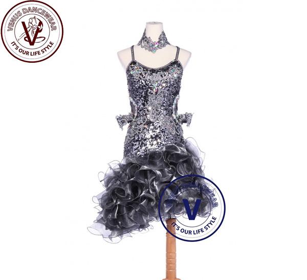 ■ヴィーナスダンスウェア(VENUS DANCEWEAR)シルバースパンコールラテンリズム チャチャチャ サルサ コンクール ダンスドレス・■(社交ダンス 衣装 ウェア ドレス トップス スカート シューズ ダンス トップス 服 パンツ ドレス)