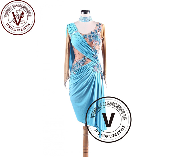 ■ヴィーナスダンスウェア(VENUS DANCEWEAR)スカイブルーラテンリズムスウィング サルサ コンクール ダンスドレス・■(社交ダンス 衣装 ウェア ドレス トップス スカート シューズ ダンス トップス 服 パンツ ドレス)