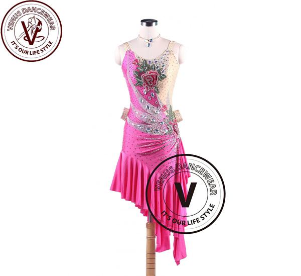 ■ヴィーナスダンスウェア(VENUS DANCEWEAR)ローズピーエンラテンリズムスイング サルサ コンクール ダンスドレス・■(社交ダンス 衣装 ウェア ドレス トップス スカート シューズ ダンス トップス 服 パンツ ドレス)