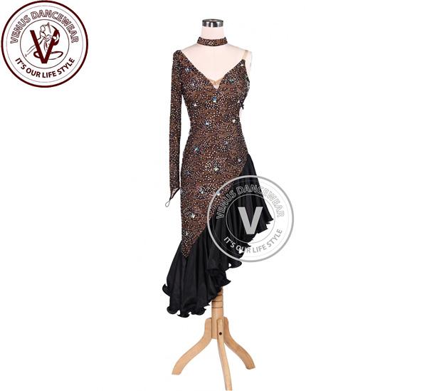 ■ヴィーナスダンスウェア(VENUS DANCEWEAR)チョコレートラテンリズムチャンピオン コンクール ドレス・■(社交ダンス 衣装 ウェア ドレス トップス スカート シューズ ダンス トップス 服 パンツ ドレス)