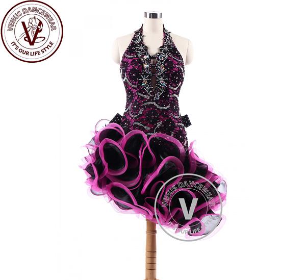 ■ヴィーナスダンスウェア(VENUS DANCEWEAR)ブルゴーニュラテンリズム サルサ コンクール ダンスドレス・■(社交ダンス 衣装 ウェア ドレス トップス スカート シューズ ダンス トップス 服 パンツ ドレス)