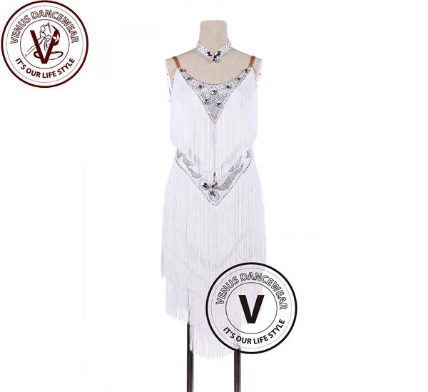 ■ヴィーナスダンスウェア(VENUS DANCEWEAR)ホワイトフリンジラテンリズム サルサ タンゴ コンクール ダンスドレス・■(社交ダンス 衣装 ウェア ドレス トップス スカート シューズ ダンス トップス 服 パンツ ドレス)