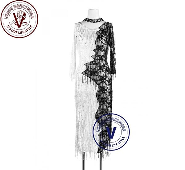 ■ヴィーナスダンスウェア(VENUS DANCEWEAR)黒色 白色 Cheongsamビーズフリンジラテン チャチャチャ リズム サルサ 女性競技用ダンスドレス・■(社交ダンス 衣装 ウェア ドレス トップス スカート シューズ ダンス トップス 服 パンツ ドレス)