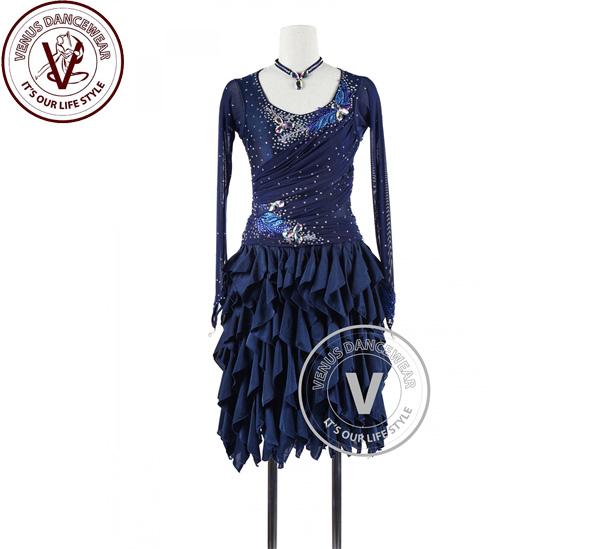 ■ヴィーナスダンスウェア(VENUS DANCEWEAR)ネイビーブルーラテンリズム チャチャチャ サルサ コンクール ダンスドレス・■(社交ダンス 衣装 ウェア ドレス トップス スカート シューズ ダンス トップス 服 パンツ ドレス)