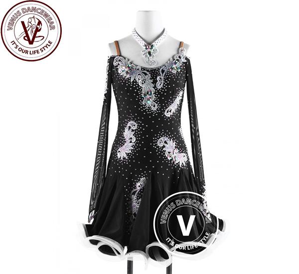 ■ヴィーナスダンスウェア(VENUS DANCEWEAR)黒ラテン コンクール ルンバリズムダンスドレス・■(社交ダンス 衣装 ウェア ドレス トップス スカート シューズ ダンス トップス 服 パンツ ドレス)