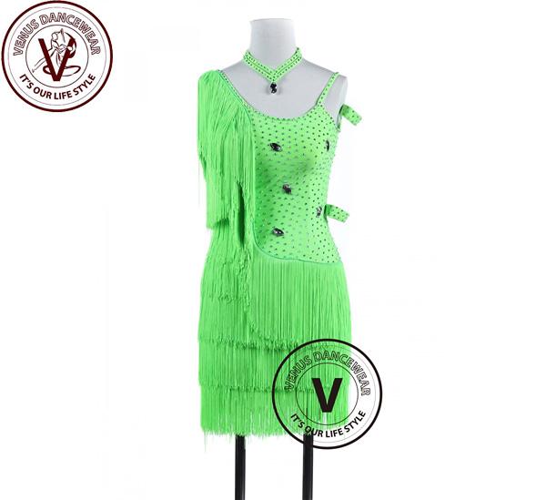 ■ヴィーナスダンスウェア(VENUS DANCEWEAR)グリーンフリンジ タンゴ サルサ ラテンリズムコンペティションドレス・■(社交ダンス 衣装 ウェア ドレス トップス スカート シューズ ダンス トップス 服 パンツ ドレス)