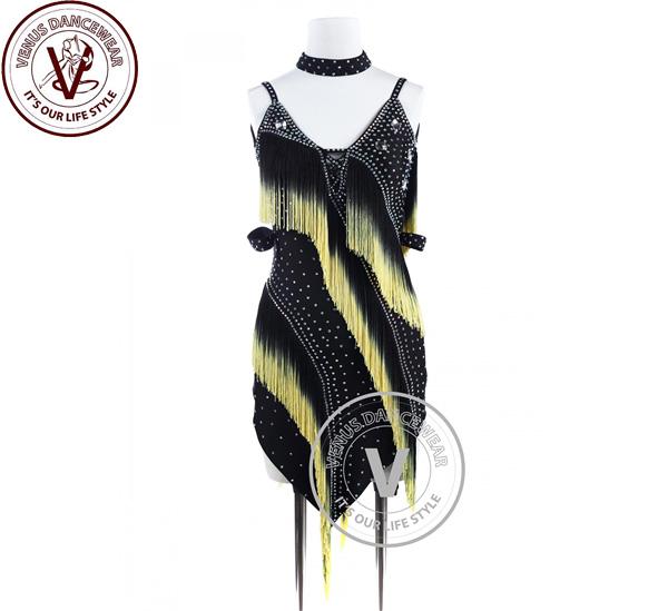 ■ヴィーナスダンスウェア(VENUS DANCEWEAR)ブラックイエローエッジフリンジ タンゴ ラテンリズムコンペティションドレス・■(社交ダンス 衣装 ウェア ドレス トップス スカート シューズ ダンス トップス 服 パンツ ドレス)