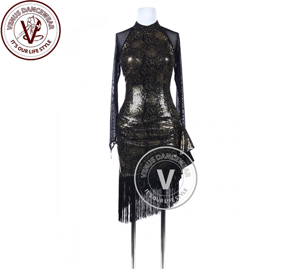 ■ヴィーナスダンスウェア(VENUS DANCEWEAR)ゴールデンローズスパンコール タンゴ ラテンリズムダンスドレス・■(社交ダンス 衣装 ウェア ドレス トップス スカート シューズ ダンス トップス 服 パンツ ドレス)