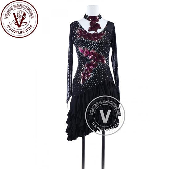 ■ヴィーナスダンスウェア(VENUS DANCEWEAR)ブラックスパンコールアップリケ タンゴ ラテンリズムコンペティションドレス・■(社交ダンス 衣装 ウェア ドレス トップス スカート シューズ ダンス トップス 服 パンツ ドレス)