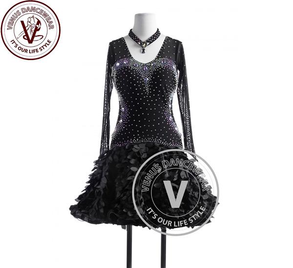 ■ヴィーナスダンスウェア(VENUS DANCEWEAR)ブラックカッコウ タンゴ サルサ ラテンリズムコンペティションドレス・■(社交ダンス 衣装 ウェア ドレス トップス スカート シューズ ダンス トップス 服 パンツ ドレス)