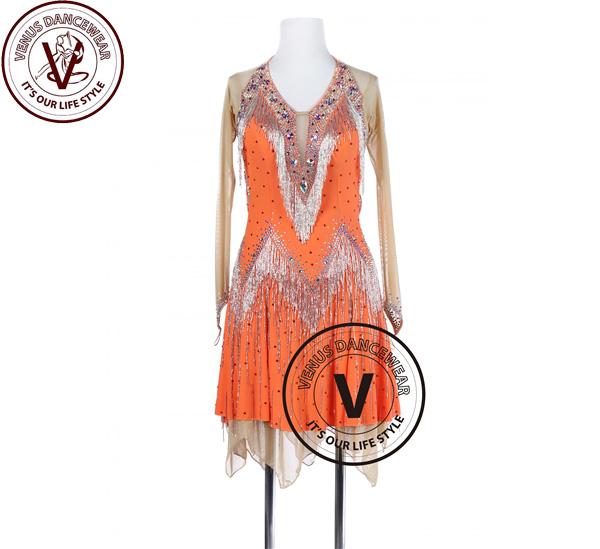 ■ヴィーナスダンスウェア(VENUS DANCEWEAR)オレンジ 手縫色 タンゴ サルサ ラテンリズム・■(社交ダンス 衣装 ウェア ドレス トップス スカート シューズ ダンス トップス 服 パンツ ドレス)