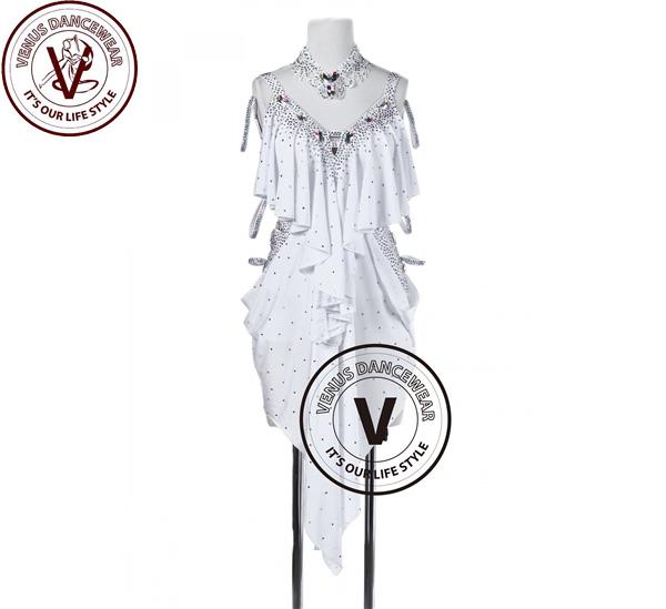 ■ヴィーナスダンスウェア(VENUS DANCEWEAR)スノーホワイト タンゴ サルサ ラテンリズムコンペティションドレス・■(社交ダンス 衣装 ウェア ドレス トップス スカート シューズ ダンス トップス 服 パンツ ドレス)
