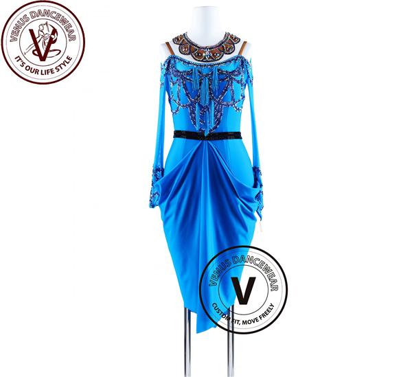■ヴィーナスダンスウェア(VENUS DANCEWEAR)エレガントなパレスブルーアメリカンリズム サルサ ラテンコンペティションドレス・■(社交ダンス 衣装 ウェア ドレス トップス スカート シューズ ダンス トップス 服 パンツ ドレス)