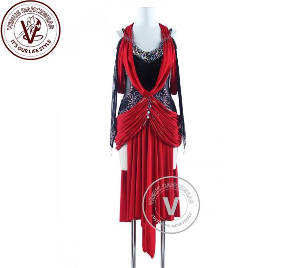 ■ヴィーナスダンスウェア(VENUS DANCEWEAR)黒と赤 ドレープスタイル タンゴ サルサ ラテンリズム競技用ドレス・■(社交ダンス 衣装 ウェア ドレス トップス スカート シューズ ダンス トップス 服 パンツ ドレス)
