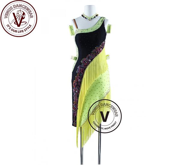 ■ヴィーナスダンスウェア(VENUS DANCEWEAR)トロピカルフィッシュフリンジ タンゴ サルサ ラテンリズムドレス・■(社交ダンス 衣装 ウェア ドレス トップス スカート シューズ ダンス トップス 服 パンツ ドレス)