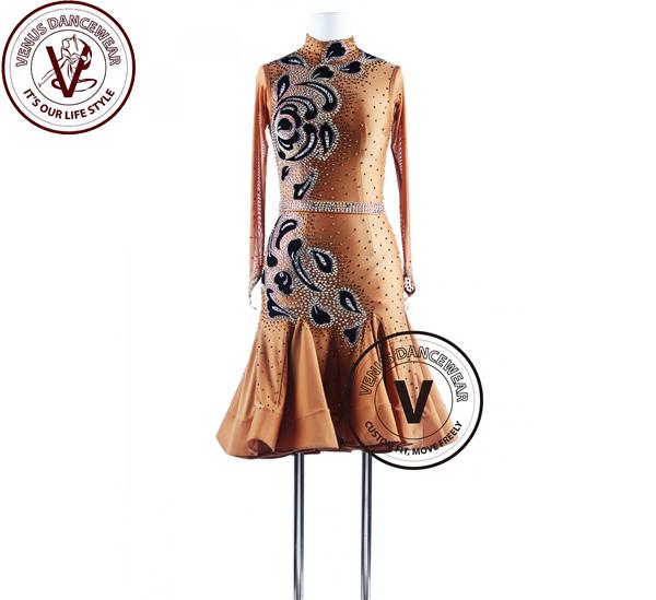 ■ヴィーナスダンスウェア(VENUS DANCEWEAR)カラメルシュガーゴージャスなシャンデリア タンゴ ラテンコンペティションドレス・■(社交ダンス 衣装 ウェア ドレス トップス スカート シューズ ダンス トップス 服 パンツ ドレス)