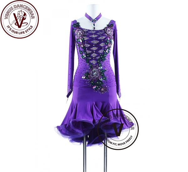 ■ヴィーナスダンスウェア(VENUS DANCEWEAR)パープルレイン、グリーンアトリエ サルサ ラテンリズムコンペティションドレス・■(社交ダンス 衣装 ウェア ドレス トップス スカート シューズ ダンス トップス 服 パンツ ドレス)