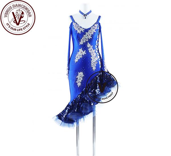 ■ヴィーナスダンスウェア(VENUS DANCEWEAR)ロイヤルブルーラテンリズム サルサ チャチャチャ ダンス コンクール ドレス・■(社交ダンス 衣装 ウェア ドレス トップス スカート シューズ ダンス トップス 服 パンツ ドレス)