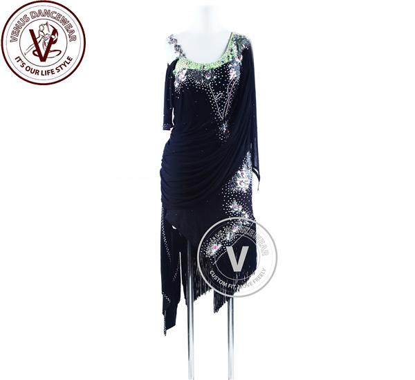 ?ヴィーナスダンスウェア(VENUS DANCEWEAR)レッド サルサ ダンスラテンコンペティションドレス・?(社交ダンス 衣装 ウェア ドレス トップス スカート シューズ ダンス トップス 服 パンツ ドレス)