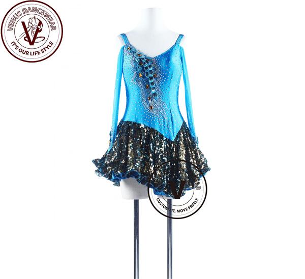 ■ヴィーナスダンスウェア(VENUS DANCEWEAR)ブルーピーコックラテンリズム チャチャチャ ダンス コンクール ドレス・■(社交ダンス 衣装 ウェア ドレス トップス スカート シューズ ダンス トップス 服 パンツ ドレス)