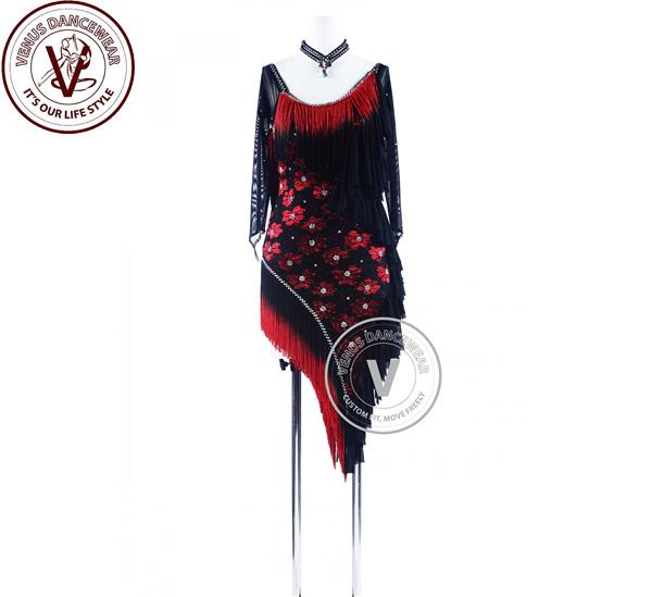 ■ヴィーナスダンスウェア(VENUS DANCEWEAR)レッドシェーディングブラックフリンジレースリズム サルサ ダンスラテンコンペティションドレス・■(社交ダンス 衣装 ウェア ドレス トップス スカート シューズ ダンス トップス 服 パンツ ドレス)