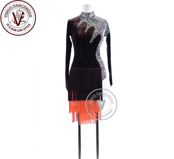■ヴィーナスダンスウェア(VENUS DANCEWEAR)チョコレートベルベットフリンジラテンコンペティションドレス・■(社交ダンス 衣装 ウェア ドレス トップス スカート シューズ ダンス トップス 服 パンツ ドレス)