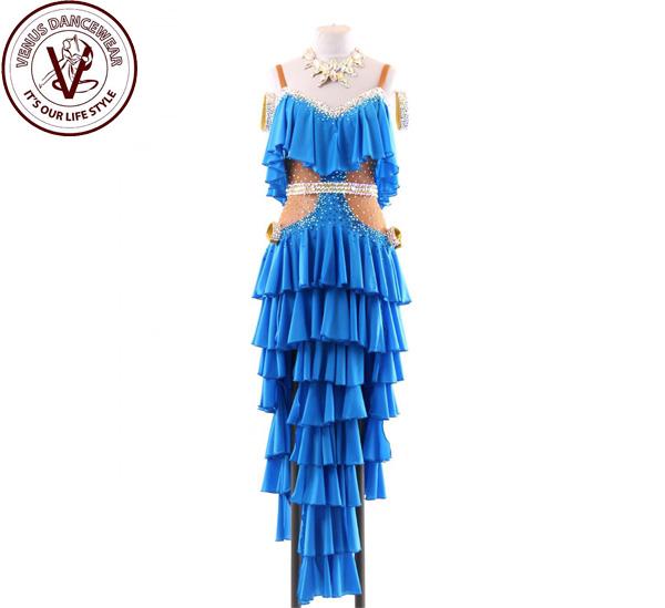 ■ヴィーナスダンスウェア(VENUS DANCEWEAR)世界クラス ラテン コンクール ドレスS110・■(社交ダンス 衣装 ウェア ドレス トップス スカート シューズ ダンス トップス 服 パンツ ドレス)
