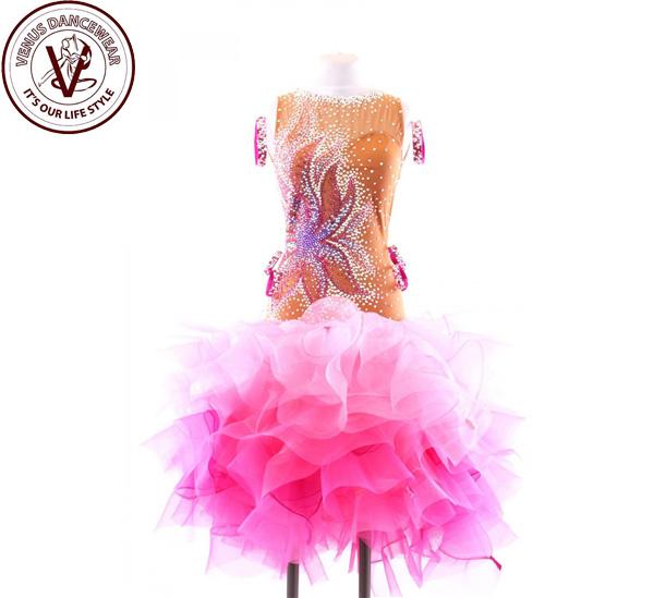 ■ヴィーナスダンスウェア(VENUS DANCEWEAR)世界クラス ラテン コンクール ドレスS113・■(社交ダンス 衣装 ウェア ドレス トップス スカート シューズ ダンス トップス 服 パンツ ドレス)