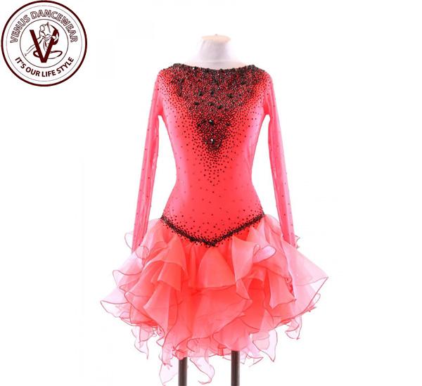 ■ヴィーナスダンスウェア(VENUS DANCEWEAR)世界クラス ラテン コンクール ドレスS125・■(社交ダンス 衣装 ウェア ドレス トップス スカート シューズ ダンス トップス 服 パンツ ドレス)