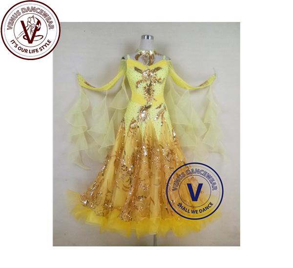 ■ヴィーナスダンスウェア(VENUS DANCEWEAR)黄色 女性 ボールルーム ダンス タンゴ ワルツ サルサ スタンダード コンペティションドレス・■(社交ダンス 衣装 ウェア ドレス トップス スカート シューズ ダンス トップス 服 パンツ ドレス)
