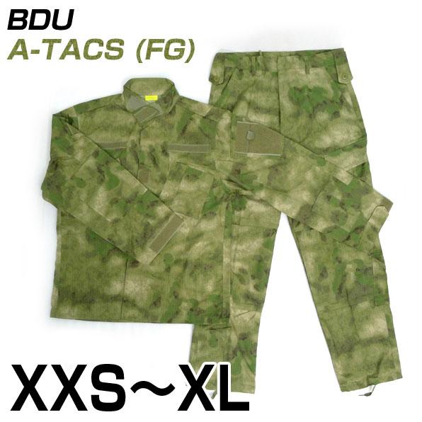 BDU 上下セット 迷彩服 A-TACS FG 送料無料 サバゲー 装備 サバイバルゲーム ミリタリー 服 ジャケット メンズ レディース 大きいサイズ 初心者