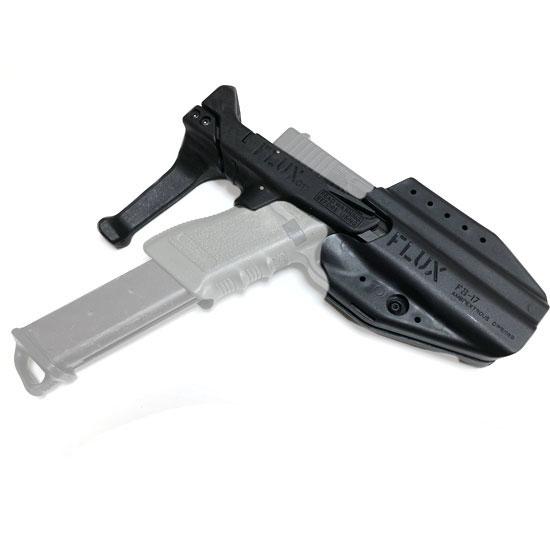 FLUX Glock Stock レプリカ品 FLUX Glock Stock スタイル 専用ホルスター付き コンバージョンキット 伸縮ストック カスタム オプション パーツ サバイバルゲーム サバゲー IPSC スチールチャレンジ シューティング マッチ 装備 ミリタリー
