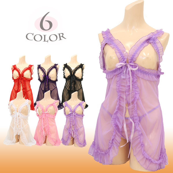 Large size ladies pretty frills open babydoll lingerie babydoll-babydoll large