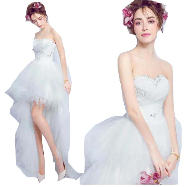 ウェディングドレス カラー ワンピース Vネック 結婚式パーディ- 花嫁 ドレス 編上げタイプ ロング アシンメトリー トレーン 引き裾 スレンダーライン ビスチェ