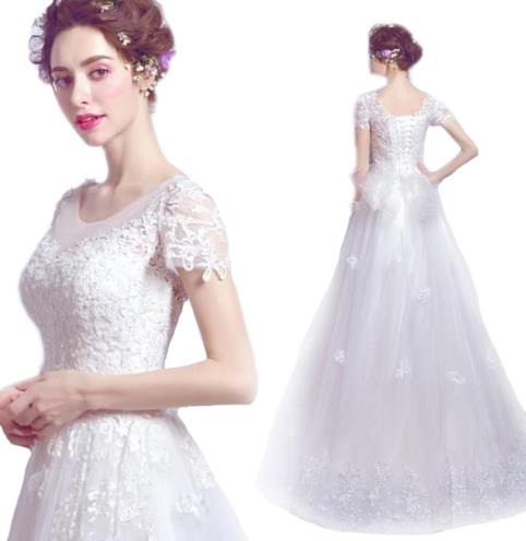ウェディングドレス ワンピース Vネック 結婚式パーディ- 花嫁 ドレス ロング プリンセス レーン Vネック バルーンスリーブ スレンダーライン バルーンスリーブ