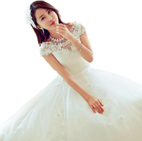 プリンセス ウェディングドレス カラー ワンピース Vネック 結婚式パーディ- 花嫁 ドレス 編上げタイプ ロング ホワイト エレガント