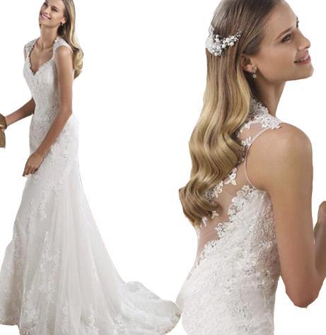 ウェディングドレス ワンピース Vネック 結婚式パーディ- 花嫁 ドレス ロング エンパイア レーン Vネック マーメイド